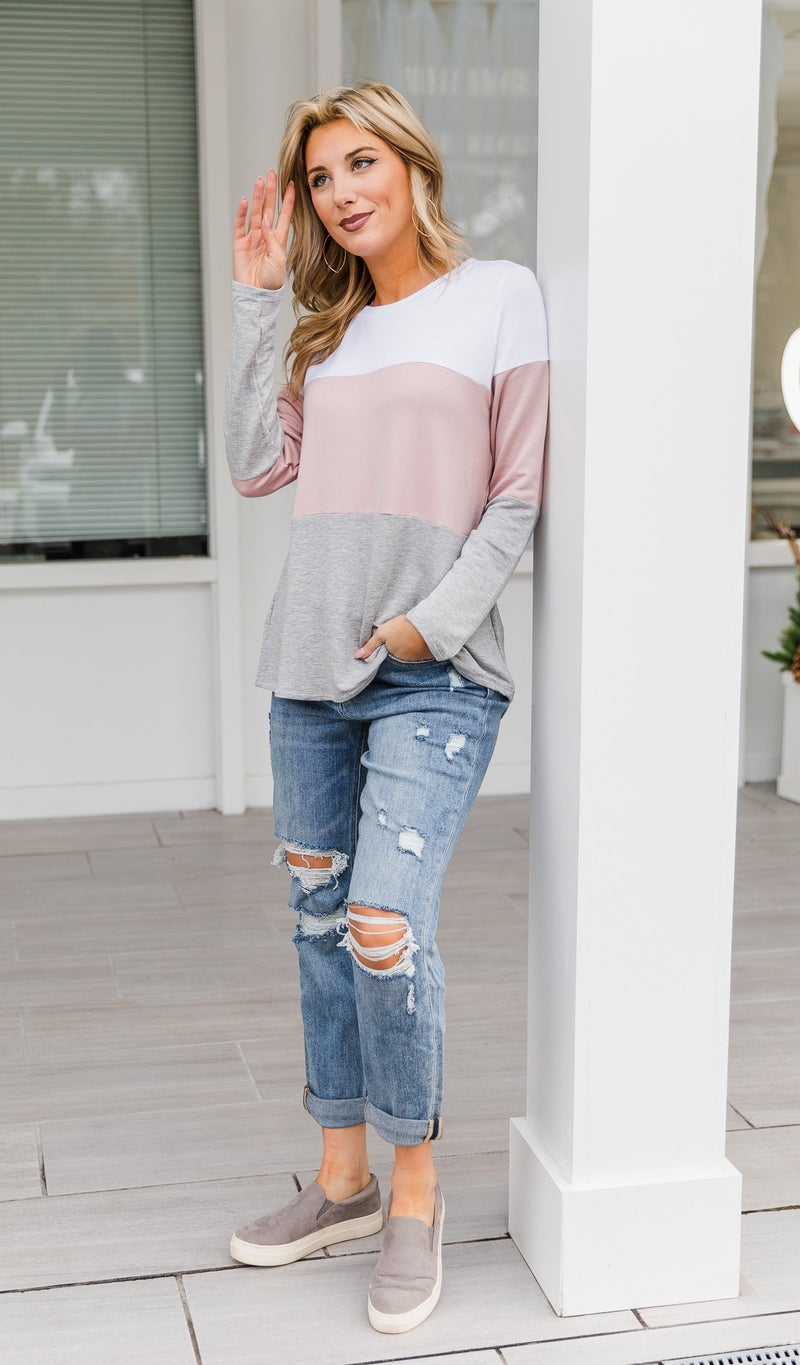 Early Nights Top, Color Block