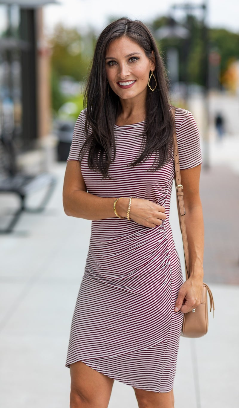 By Your Side Dress, Burgundy and Ivory Stripe