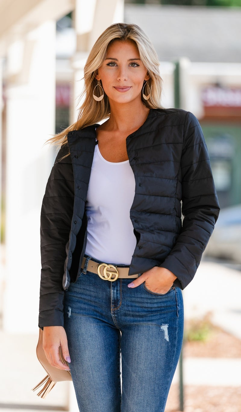 Quilted Shell Jacket, Black, White or Olive