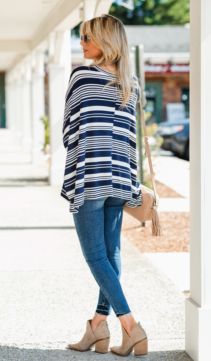 Forever Striped Tunic, Navy