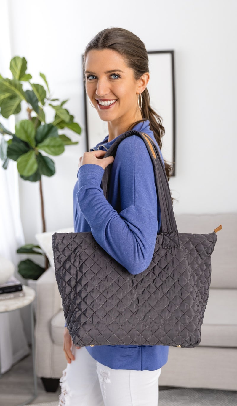 Quilted Classic Carryall, Charcoal