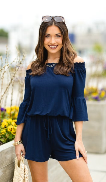 Moment Like This Romper, Navy