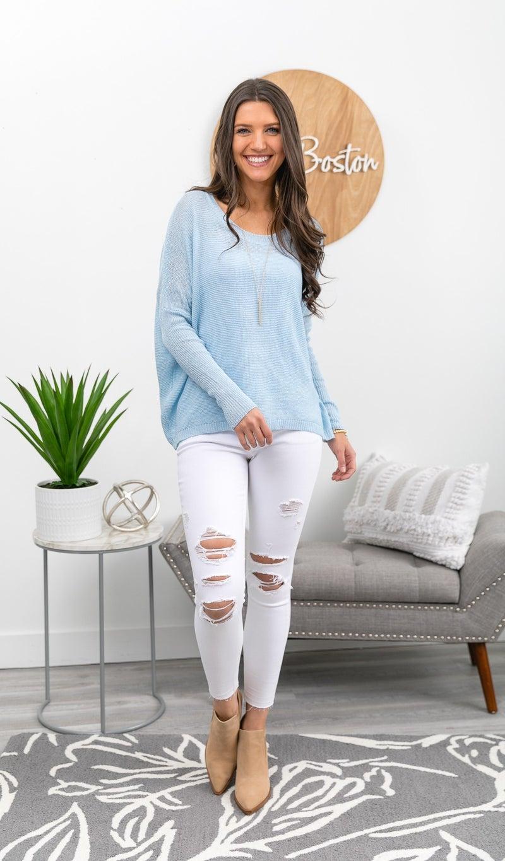 Simply the Best Lightweight Sweater, Sky Blue