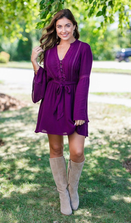 Riley Boho Dress, Plum