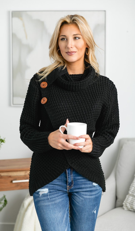 Listen Up Knit Sweater, Black