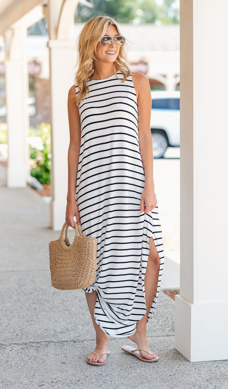 Take Me With You Striped Maxi in Ivory/Black