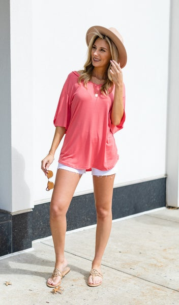 Simple Sights Top, Coral