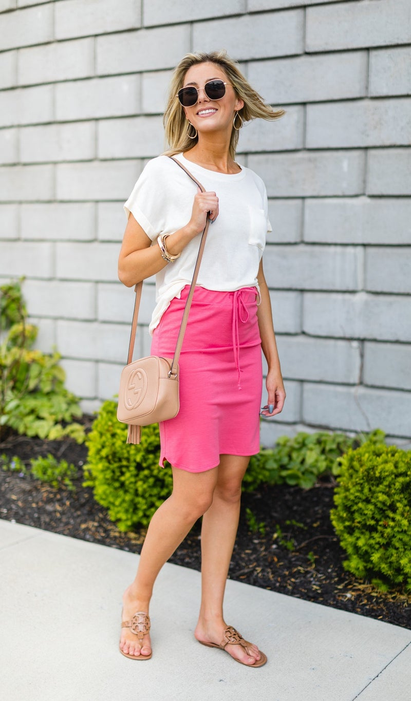 Slip Into Casual Skirt, Mint, Coral, Or Navy