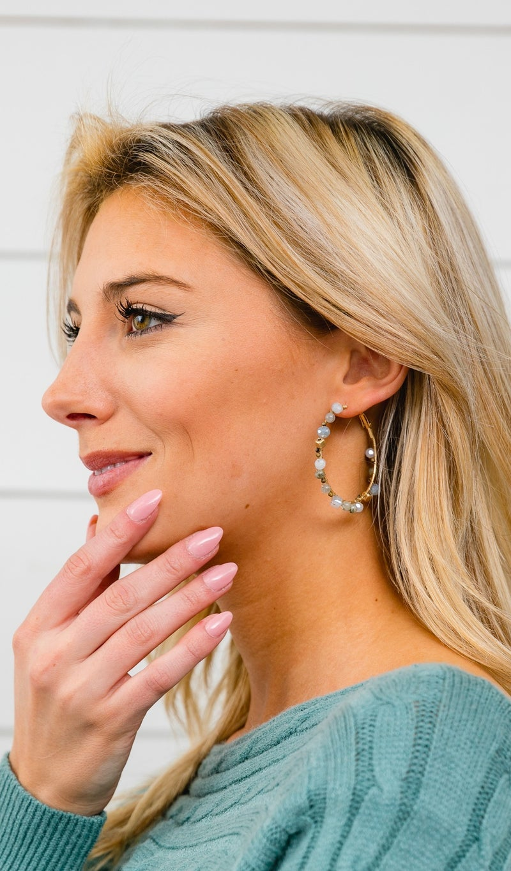 Falling Snow Earrings, Gold