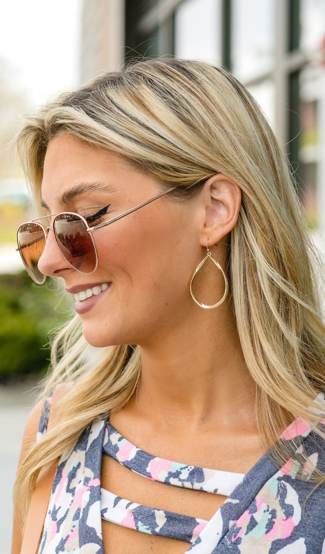 Hannah Metal Teardrop Earring, Gold Or Silver