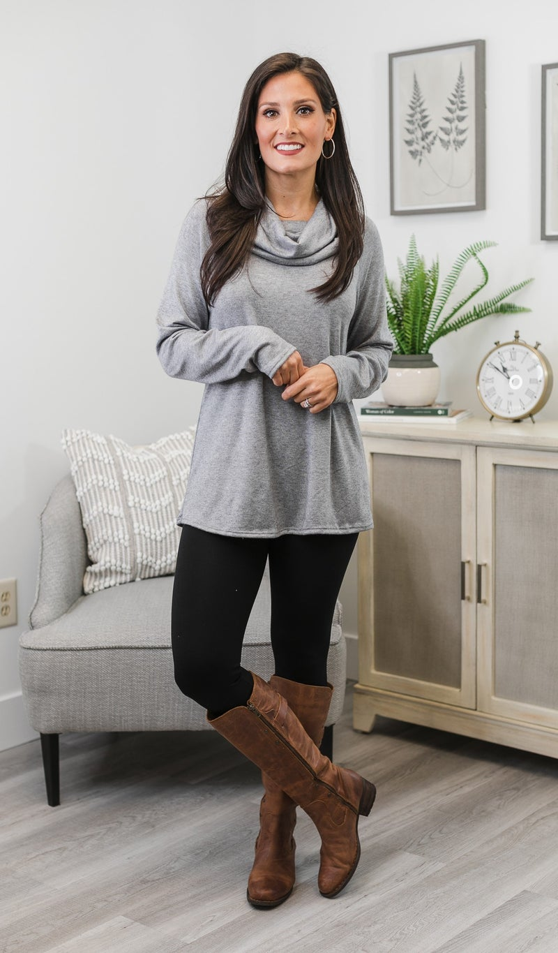 Colby Cowl Neck Tunic, Grey