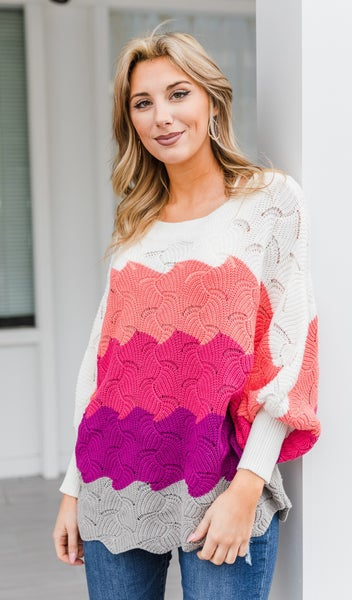 Caught In The Chill Sweater, Pink Multi