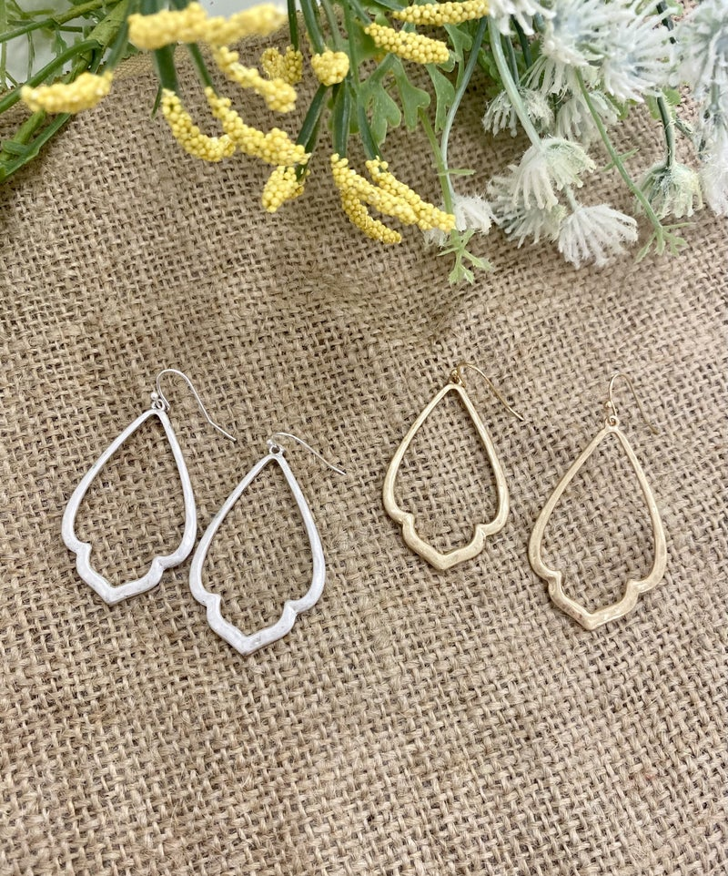 Tiffany Earring, Brushed Gold or Brushed Silver