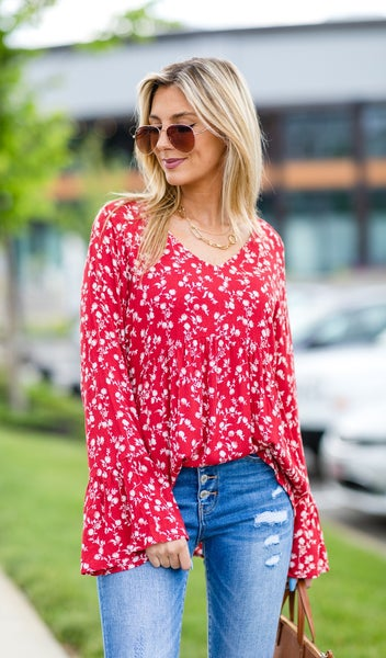 The Krista Top, Navy Or Red - RED