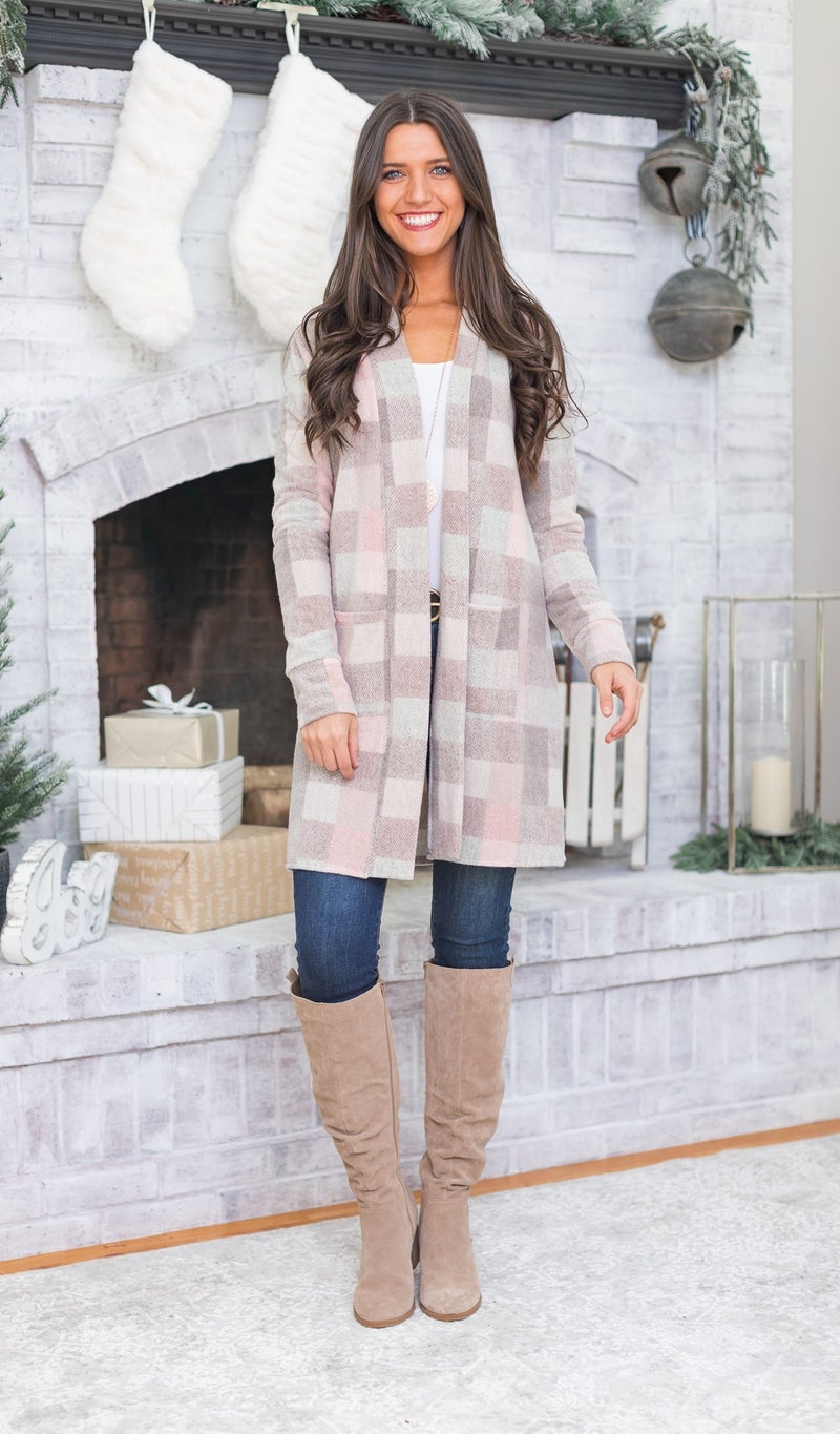 The Erica Cardigan, Brown & Pink Plaid