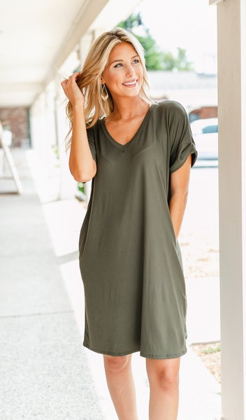 On The Go T-Shirt Dress, Black or Olive
