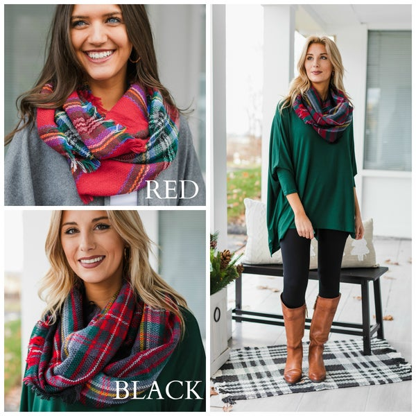 All Day Favorite Scarf, Red or Black Plaid.  YOUR CHOICE $9.99!!