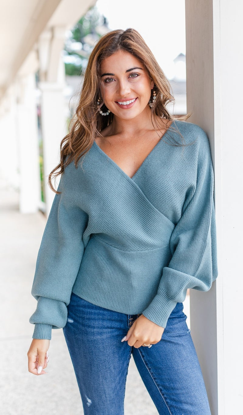 Annabella Knit Crossover Sweater, Teal or Black