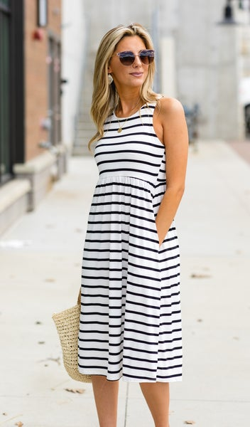 No Worries At All Dress, Black Stripe