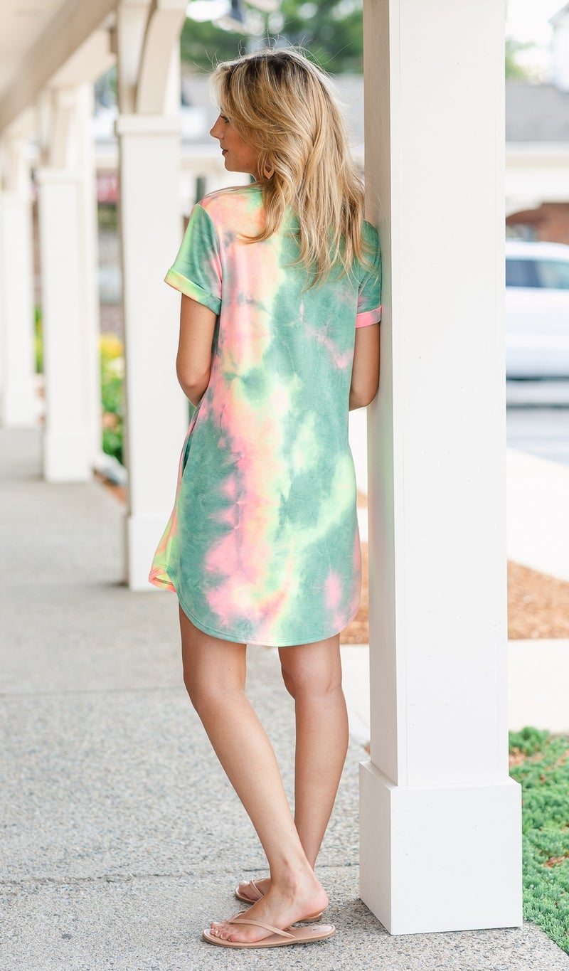 Poolside T-Shirt Dress, Pink Tie Dye
