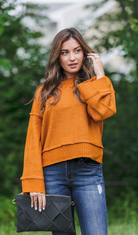 Feeling Fall Sweater, Cinnamon, Hunter Green