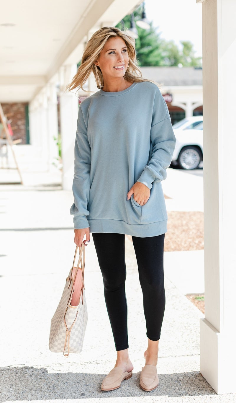 Forever Charm Sweatshirt, Blue or Bone