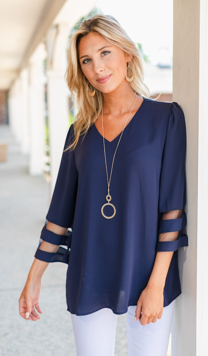 Picture Perfect Blouse, Navy or Sage