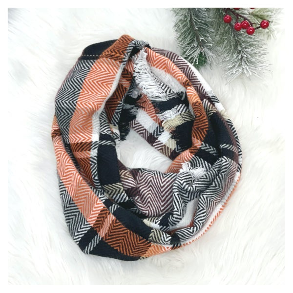 The Stella Circle Scarf, Black/ Orange