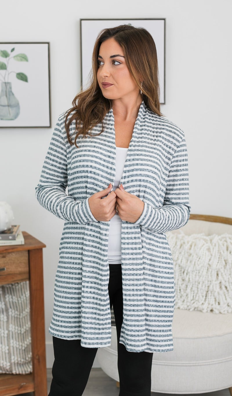 Look No Further Stripe Cardigan, Hunter Green