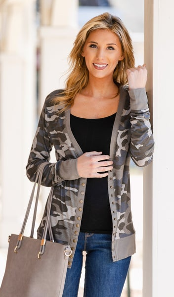 Above All Snap Cardigan, Camo