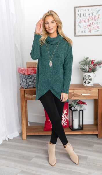 Clara Wrap Tunic, Hunter Green