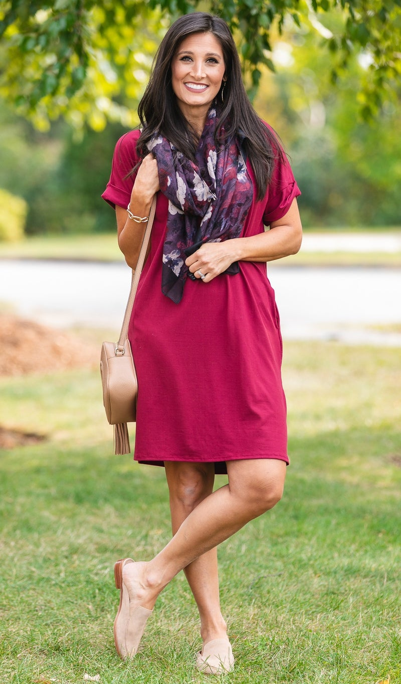 On The Go T-Knit Dress, Black, Burgundy or Olive