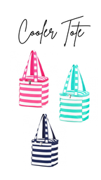 Striped Cooler Tote, Hot Pink, Mint or Navy