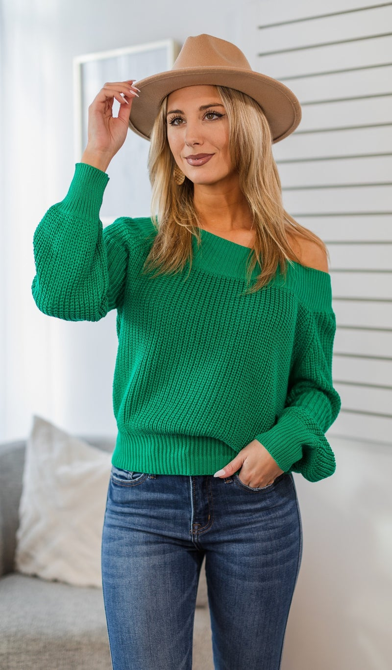 Be Brave Knit Sweater, Green