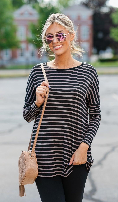 The Henley Stripe Tunic, Black or Mocha