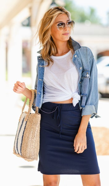 Slip Into Casual Skirt, Navy