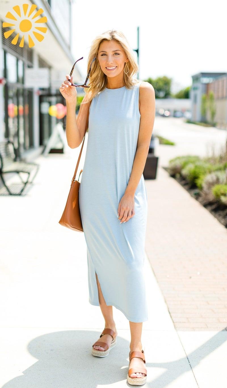 Go With The Flow Dress, Smoke Blue