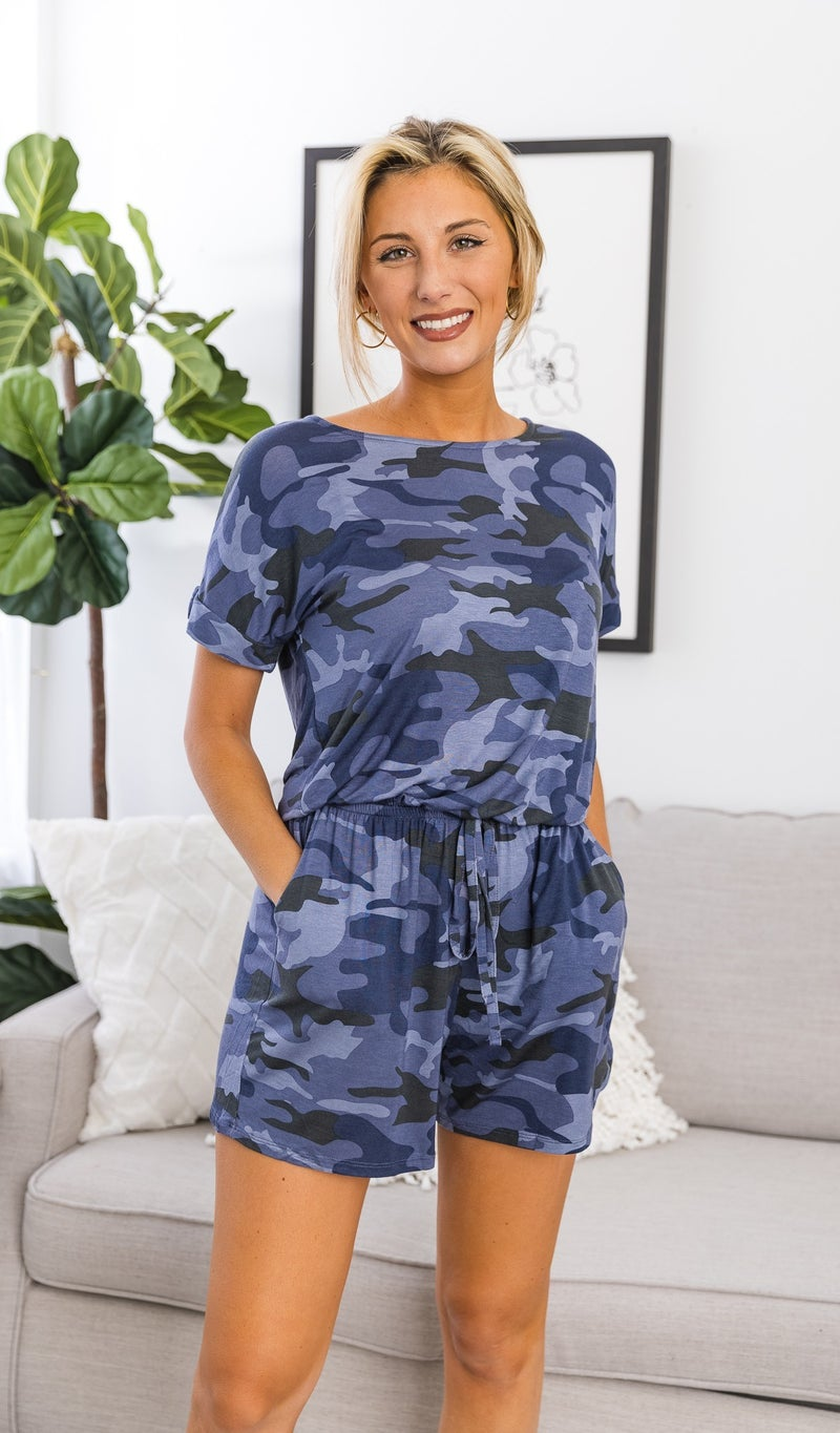 On The Trend Romper, Navy Camo