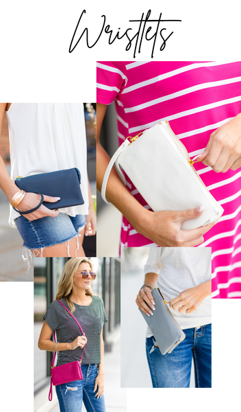 The On The Go Wristlet, Navy, Light Grey, Hot Pink, Mint or Ivory