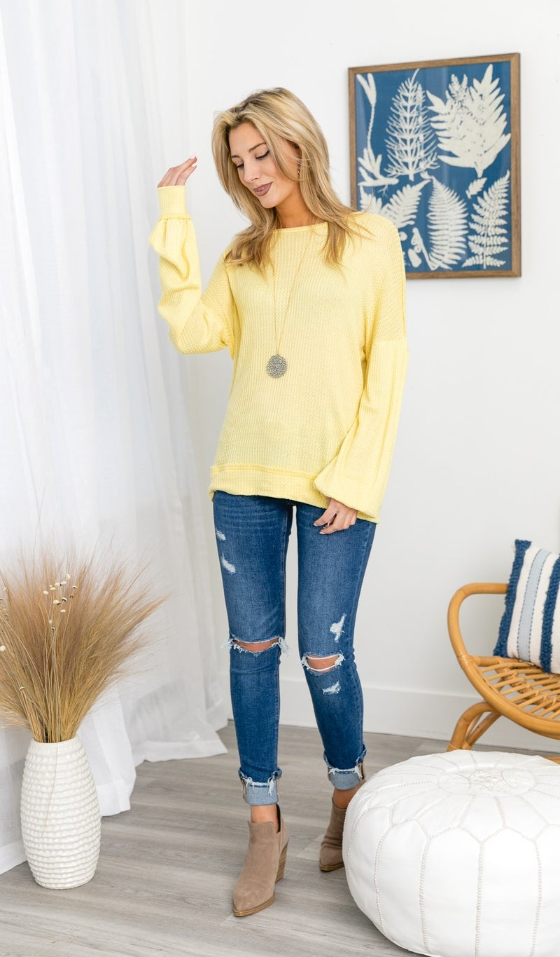 Stay A While Waffle Top, Yellow or Navy