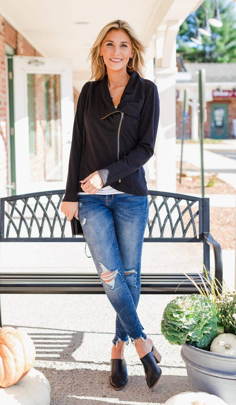Once Upon a Time Top/Jacket in Black, Olive, or Burgundy