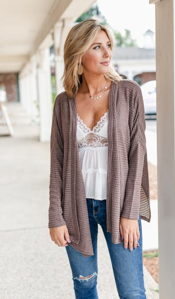 Comfy As Always Cardigan, Brown
