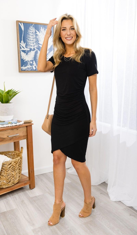 The Jena Short Sleeve Dress, Black