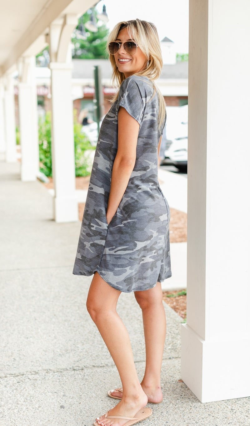 Cool Breeze Dress, Grey Camo