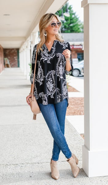 Fall Paisley Top, Black