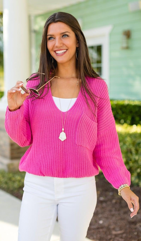 The Savannah Sweater, Hot Pink