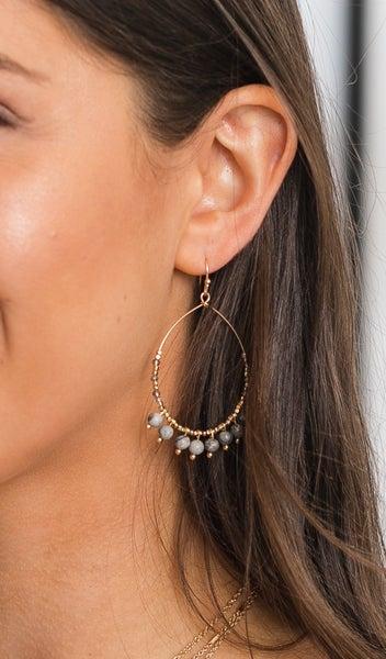 Trendy Beaded Teardrop Earrings,  Grey