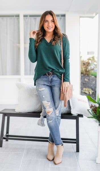 Twist On A Classic Top, Green or Oatmeal