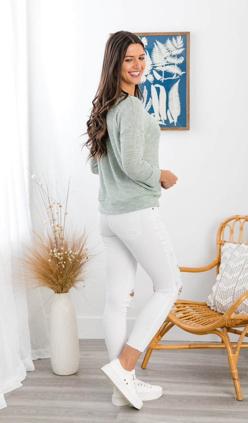 The Sylvia Top, Sage or Ivory