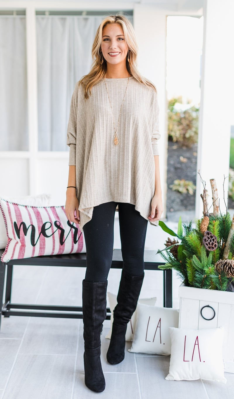 Adella Knit Tunic, Rust or Oatmeal